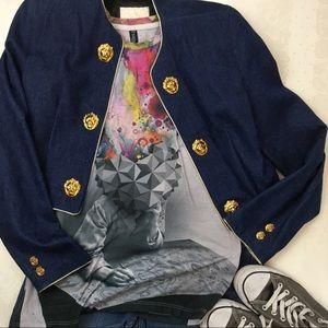 Cache Upscale Denim Leather Jacket Size Small